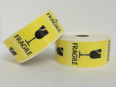1000 Labels 2x3 Yellow Fragile Cracked Glass Shipping Mailing Stickers