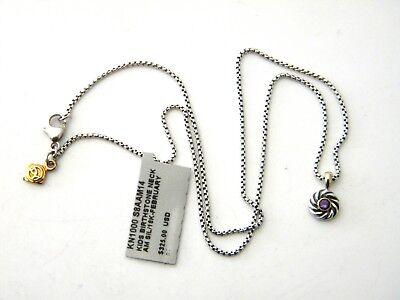 David Yurman Kids 14inch February Birthstone Necklace Amethyst Silver/Gold NWT
