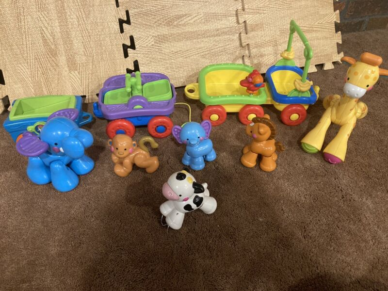 FISHER PRICE AMAZING ANIMALS SING AND GO CHOO CHOO Replacement Cars + 6 ANIMALS