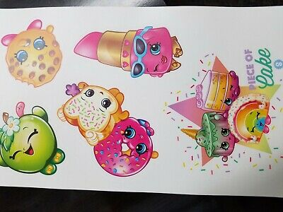 SHOPKINS wall stickers 7 decals SPRINKLE PARTY grocery pal LIPPY LIPS Cake - Apple Pal