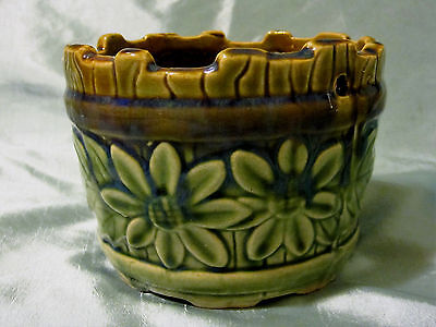 Vintage Brown Green Pottery Round Hanging Planter Flower Pot