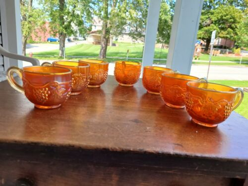 (7) Northwood Dark Marigold Grape & Cable Punch Cups Singed Great Color