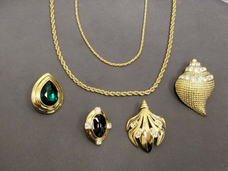 Kenneth Jay Lane Gold Tone Costume Jewelry - 4 Pendants and 2 Chains