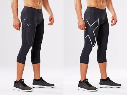 BRAND NEW MENS 2XU 3/4 COMPRESSION TIGHTS + FREE POSTAGE