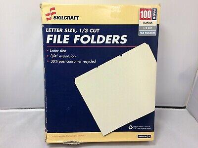 Skilcraft 2507 Manila 13 Cut 100 Pack File Folders Letter Size 34expansion