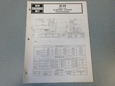Rare Bucyrus-erie 31-h Crane Excavator Spec Information 1973