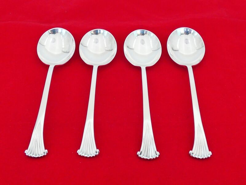 Set of 4 Tuttle Sterling Silver Onslow with JEC Mark Round Soup Spoons ZE-20