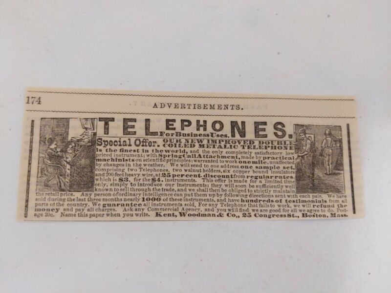 Extremely Rare 1879 Telephone Print Ad Kent Woodman Boston