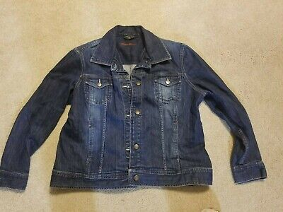 Eddie Bauer Denim Jean Collared Long Sleeve Cropped Jacket Womens Size Xxl