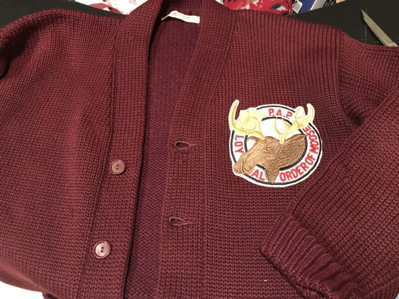 Vintage Mens Jacket Sweater Pap Loyal Order of Moose Mitchell And Ness Label