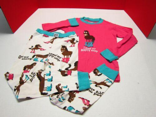 EUC Lazy One Girls Pajamas Size 6 I Need My Booty Sleep LS Shirt & Pants Horses