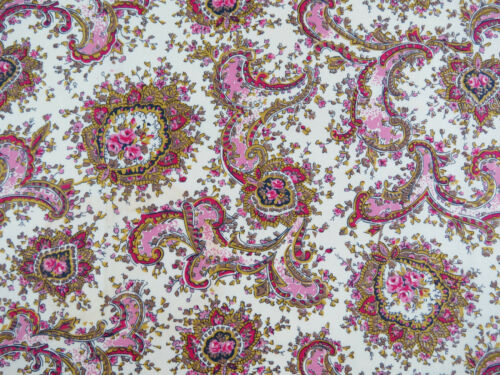 "Vintage Pink Gold Paisley Cotton Fabric 1 1/3 yards x 35"" wide"