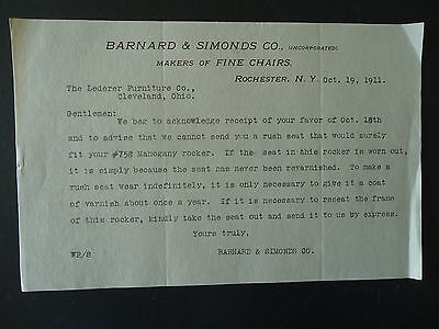 1911 Letter Barnard & Simonds Co Makers of Fine Chairs Rochester New York