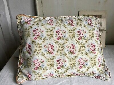 Vintage Cushion Cover, Faded Floral Cotton Pink Yellow & Green Shabby Chic Decor