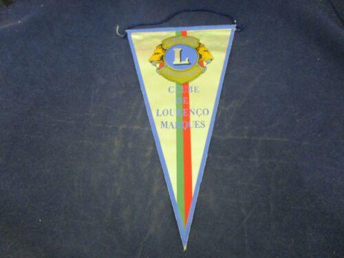 Vintage Lions Club  Banner Flag Pre 1976 Lourenco Marques Mozambique aka Maputo