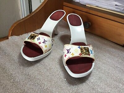 "LOUIS VUITTON SANDALS MULTI-COLOR $1200 MULES Sz 39 US 9 -10"" LONG WHITE MURAK"