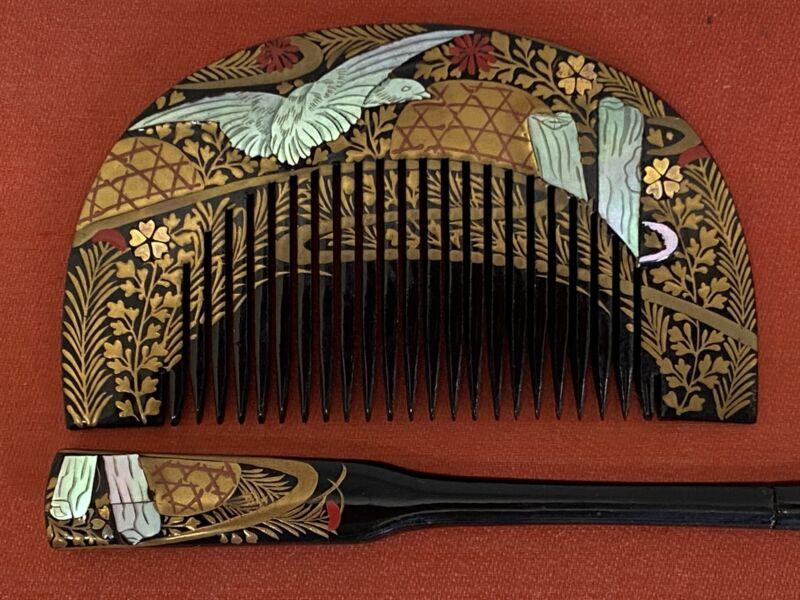 Y2294 KOUGAI Hair dressing tools set Makie lacquer box Japan antique kimono