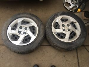 195/60R15 near new Cooper ALLSEASON on 2 cobalt 4X100 rims $120