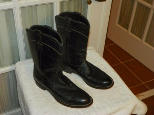 Larry, Mahan, Black, Smooth, Ostrich, Skin, Roper, Cowboy, Boots, Mens, size, 7.5, B, narrow