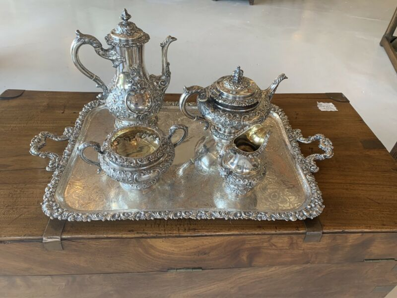 Fancy Antique Scottish Sterling Silver Tea Coffee Set Robb & Whittet