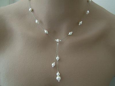 Collar de marfil blanco Cream p Boda nupcial de la boda Perlas...