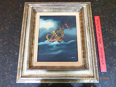 Nautical Art pirate Ship in stormy seas wooden frame marine hand painted signed