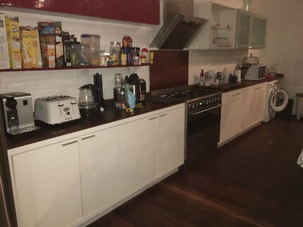 Kitchen cabinets with Jarrah benchtops