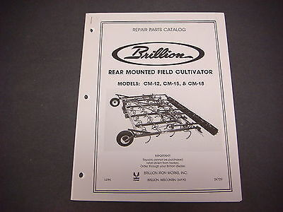Brillion Iron Works Rear Mounted Field Cultivator Models Cm-12 Parts Book M4212
