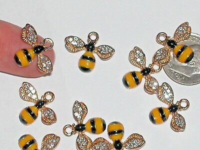 1pc Miniature doll tiny Golden Charm Pendant Crystal Bumble Bee Ladybug 14x17mm