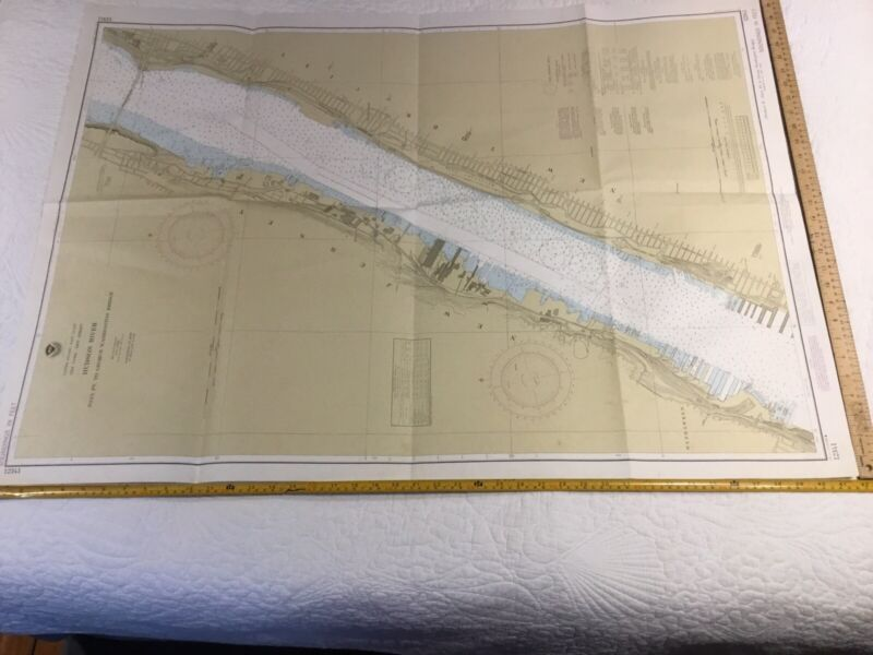 "Vintage Nautical chart #12341 Hudson River 30"" X 41.5"" 1984"