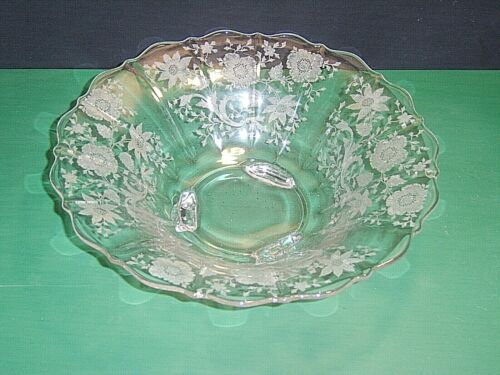 """Vintage Cambridge Glass Crystal Wildflower Etched 11-3/4"""" Flared 3 Toed Bowl  **"""