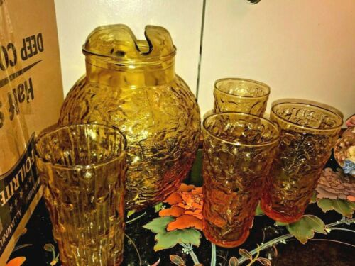 LIDO MILANO ANCHOR HOCKING GOLD AMBER VNTG BALL PITCHER and 4 TUMBLERS