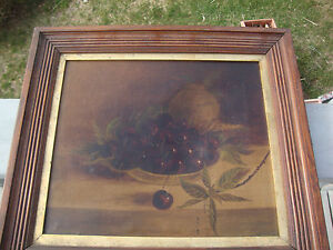 Antique Oil on Canvas, Still Life, of Cherries & Pottery