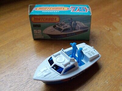 MATCHBOX LESNEY SUPERFAST 1-75 No:52d POLICE LAUNCH BOAT from 1978 NMIB Boxed for sale  Shipping to South Africa