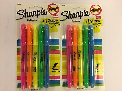 Highlighters - Sharpie 5pks Multi-color 10 Total - Narrow Chisel Smear Guard
