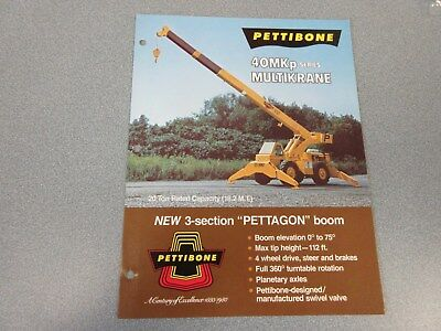 Rare Pettibone 40 Mkp Multikrane Sales Brochure