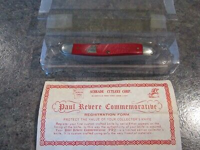 "Schrade WALDEN CUT CO PR2 USA 3 blade 3 5/16"" PAUL REVERE L E red Sca knife NOS"