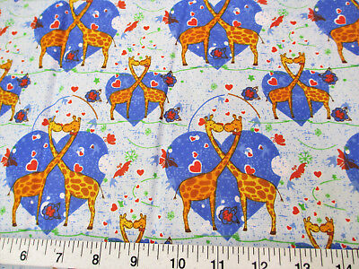 Discount Heart - Discount Fabric Quilting Cotton Heart Kissing Blue Giraffes K302