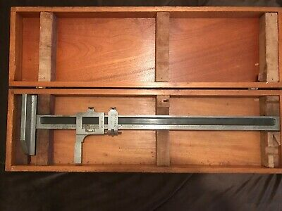 Vintage Brown Sharpe Caliper Vernier Height Gauge No 585 Woriginal Wooden Box