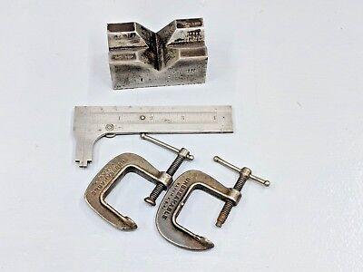 4 Lot Machinists Toolsstarrett 4 Caliperunmarked V-block Small C Clamps