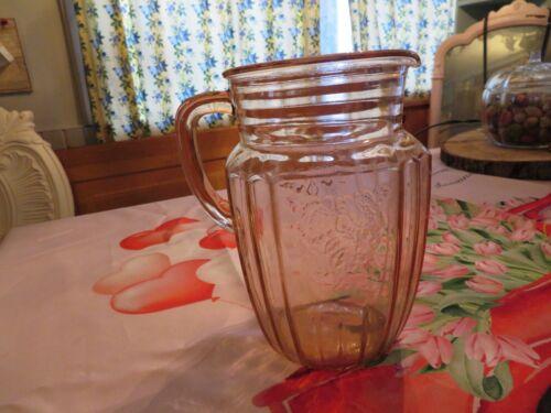 Vintage Anchor Hocking Pink Depression Glass Water/Juice Pitcher Mayflower Rose