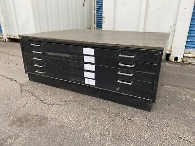 Vintage 5 Drawer Flat File Blueprint Cabinet With Base 54 W
