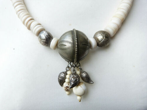 African Asian Necklace with silver from Morocco and shells from the Far East
