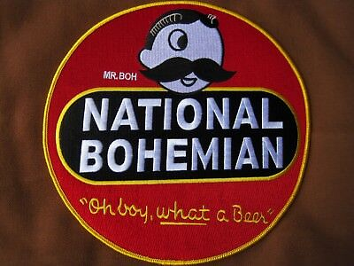 National Bohemian Beer Patch for shirt, jacket, coverall Large Circle Back Size!
