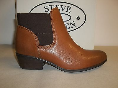 Steve Madden Size 6.5 M Rozamare Drk Cognac Leather Ankle Boots New Womens  Shoes