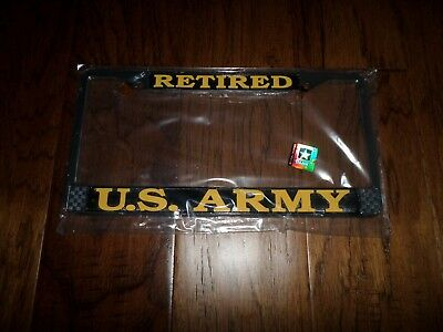 U.S MILITARY ARMY RETIRED METAL LICENSE PLATE FRAME NEW SEALED