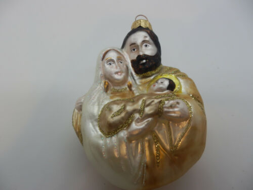 CHRISTMAS HOLY FAMILY ORNAMENT BLOWN GLASS JESUS MARY JOSEPH NIB Poland