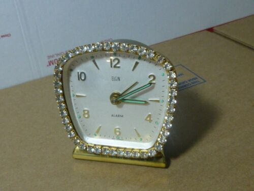 Vintage Elgin Jeweled Rhinestone Alarm Clock - Works - Made in W. Germany