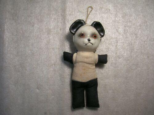Vintage Celluloid ? Plastic & Cloth Panda Bear Ornament Japan !!