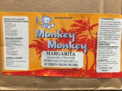Case 4 1 Gallon Slush Mix Drink Concentrate Monk Margarita Frozen Beverage Mix